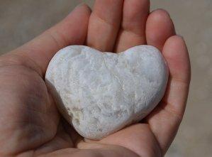 heart, stone, hand