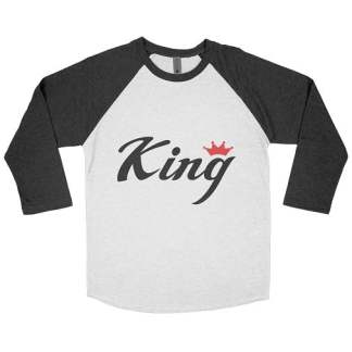 Red Crown Black King Baseball Tee