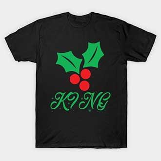Christmas Mistletoe King Queen Couple T-Shirts