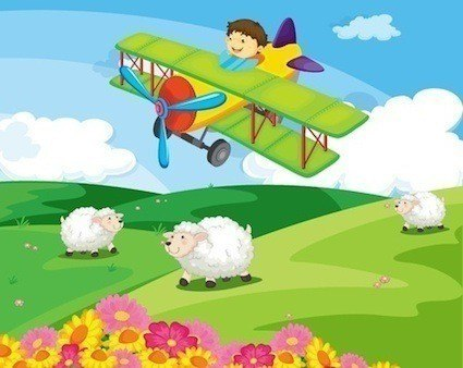 Cartoon airplane with pilot flying over a hill with sheep.