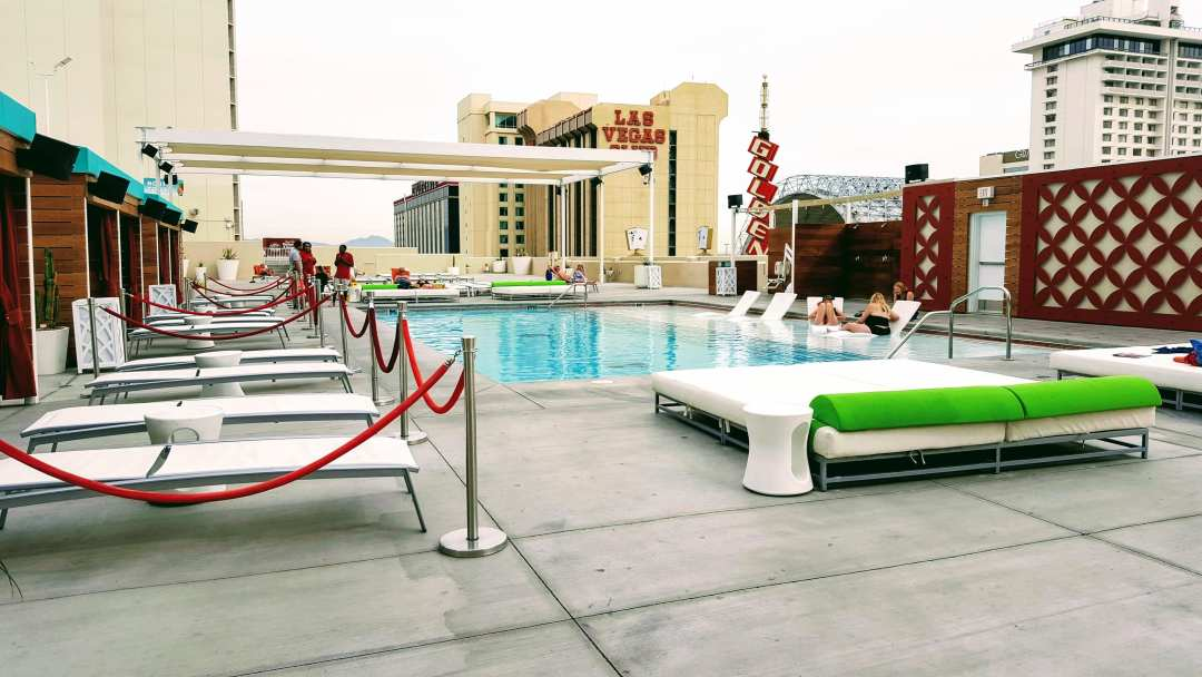 An image of the the Plaza Hotel, we recommend as a great budget option in Las Vegas