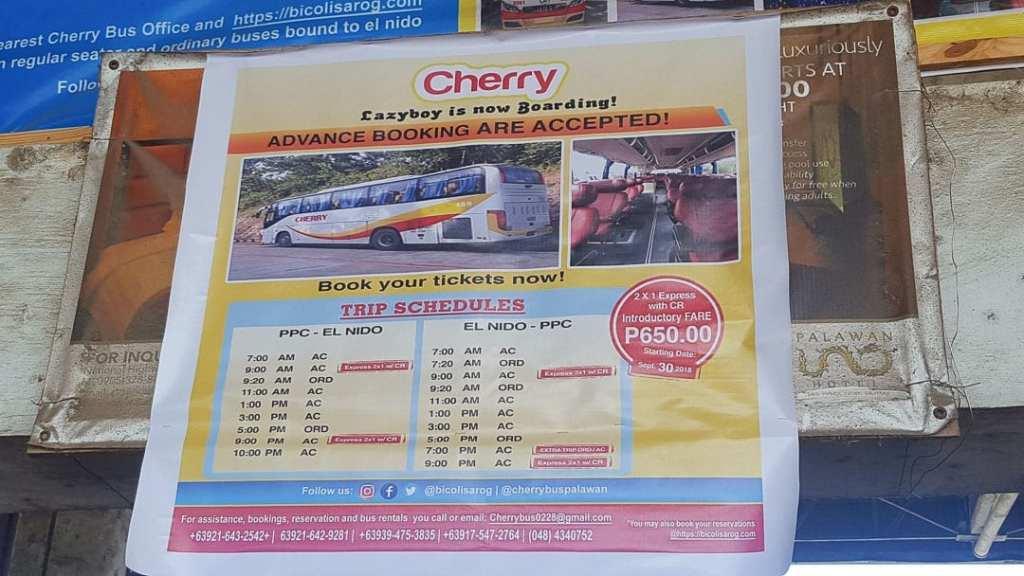 Puerto Princesa to El Nido bus schedule, Cherry Bus Schedule, El Nido Bus Schedule, Puerto Princesa bus schedule