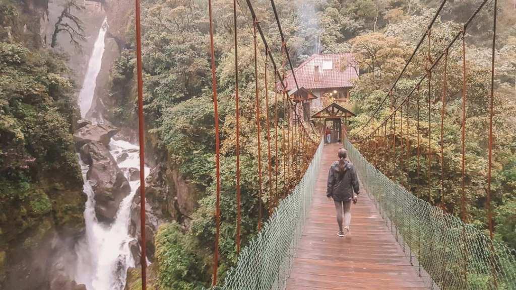 Crossing-the-suspension-bridge-Devils-Cauldron-Banos-Ecuador