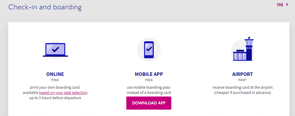Screenshot of Wizz Air Check In Options