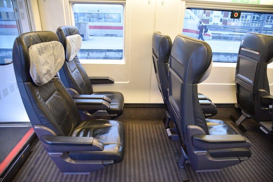 1st-class-seats- brussels-to-munich-train,1st-class-seats-ICE-train-germany,intercity-train-seats-first-class