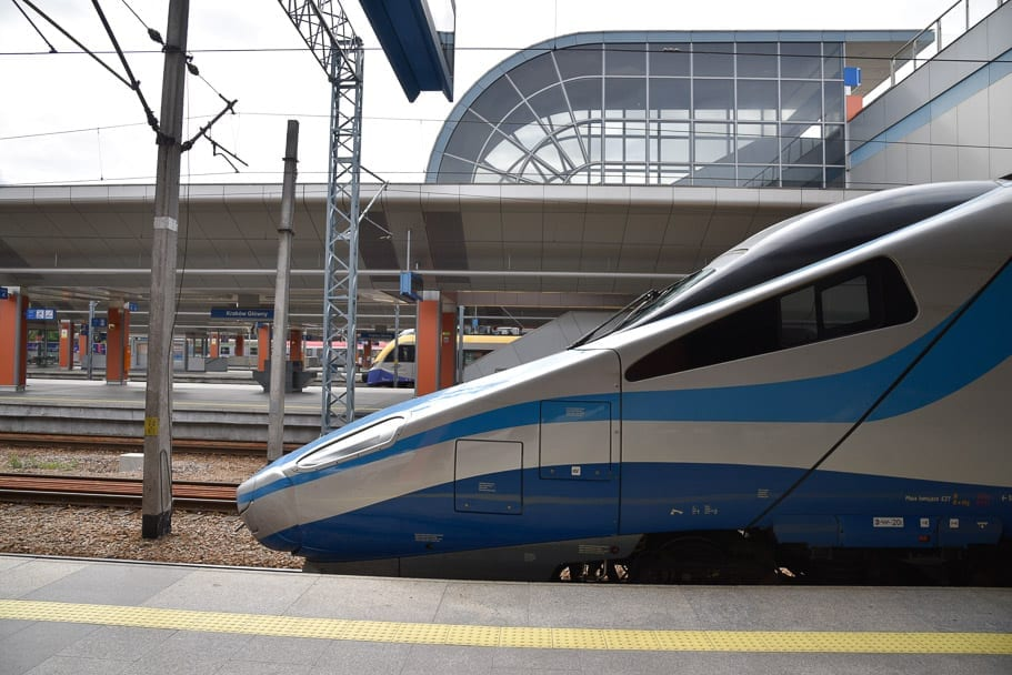 Nose of the EIP train at Krakow station