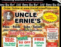 Uncle Ernie's Pizza, Chatsworth, coupons, direct mail, discounts, marketing, Southern California