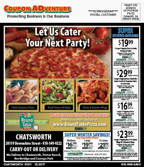 Where Is Round Table Pizza.Ch24 Round Table Pizza 91311 1217 Coupon Adventures