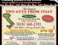 Two Guys from Italy, Granada Hills, coupons, direct mail, discounts, marketing, Southern California