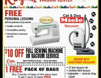 Kingdom Sewing & Vacuum Center, Granada Hills, coupons, direct mail, discounts, marketing, Southern California