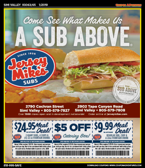 graphic relating to Jersey Mikes Printable Coupons known as SV05 Jersey Mikes Subs 93063-65 0119 Coupon ADventures