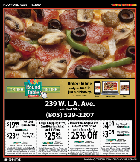 Round Table Pizza Burbank.Moorpark Coupon Adventures