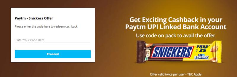 Snickers PAYTM Cashback