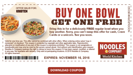 Noodles And Company Coupon 25% Discount