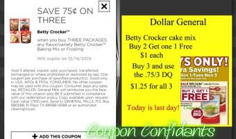 $1.25 for 3 Betty Crocker Cake Mix @ Dollar General