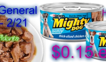 $.15 Might dog canned dog food Dollar General