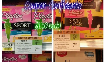 Playtex combo packs, tampons and pads $1.50 a box @ Publix