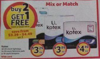HUGE Sale on U Kotex at Bi-lo (MONEY MAKER!!!)