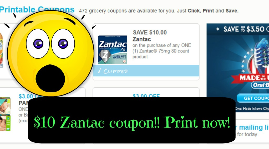 image relating to Zantac Printable Coupon titled Zantac $10 printable coupon!!! Print currently ⋆ Coupon Confidants