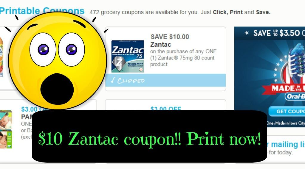 image relating to Zantac Printable Coupon titled Zantac $10 printable coupon!!! Print currently ⋆ Coupon Confidants