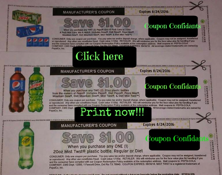 PRINT NOW! Will not last long!!! Pepsi 12pk coupon, Pepsi 20oz coupon, and 20 oz Mist Twist coupon!!