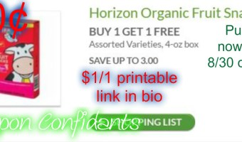 50¢ Horizon Fruit Snacks at Publix!