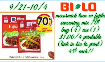 45¢ each for Mccormick Seasonings at Bi-lo!!