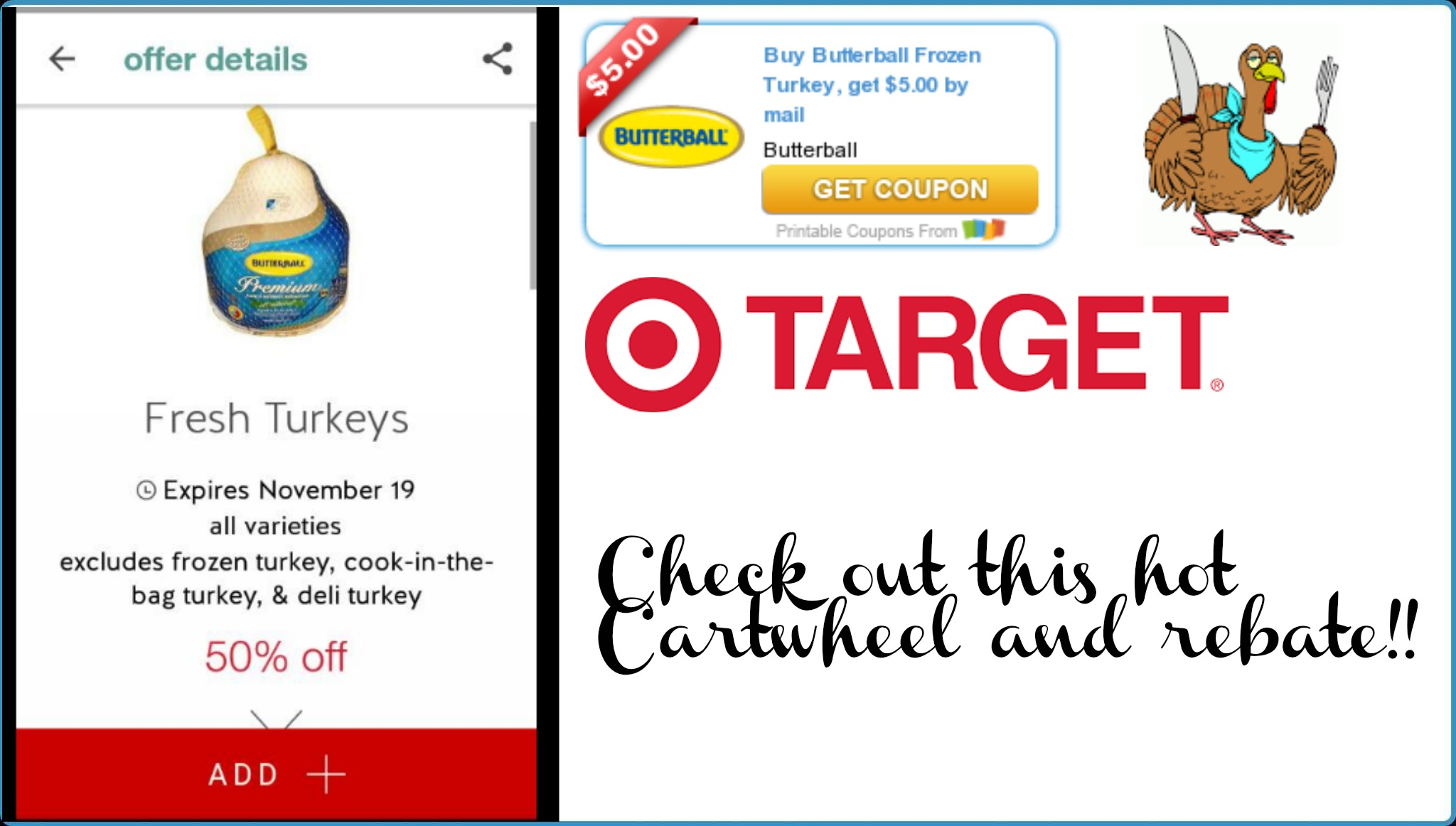 photo regarding Butterball Coupons Turkey Printable known as 50% off Cartwheel upon Butterball turkey and a coupon rebate