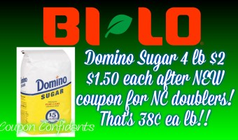 Domino Sugar 38¢ a pound at Bi-lo for up to 99¢ doublers!