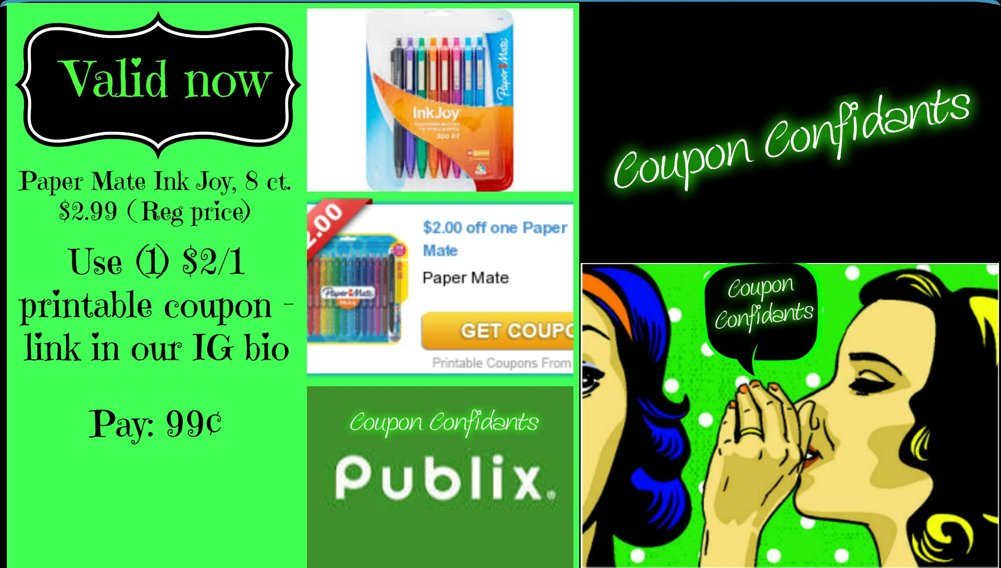 graphic relating to Paper Mate Coupons Printable known as Papermate Ink Happiness 8ct pk. simply just 99¢ @ Publix! ⋆ Coupon