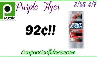 92¢ Right Guard @ Publix! Print now! 3/25-4/7