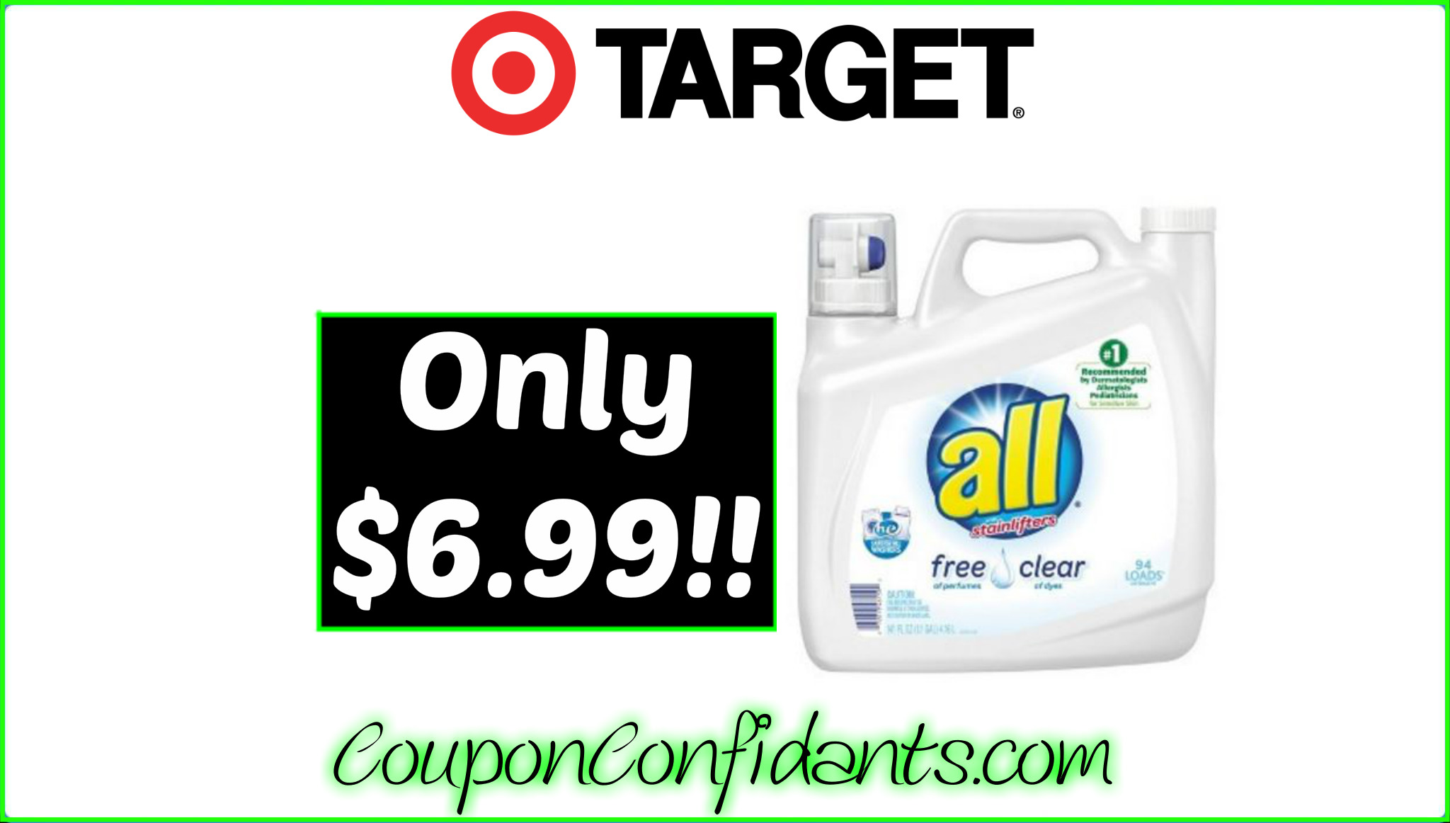 WOW!!! All Laundry Detergent $6.99 for 141 oz at Target!