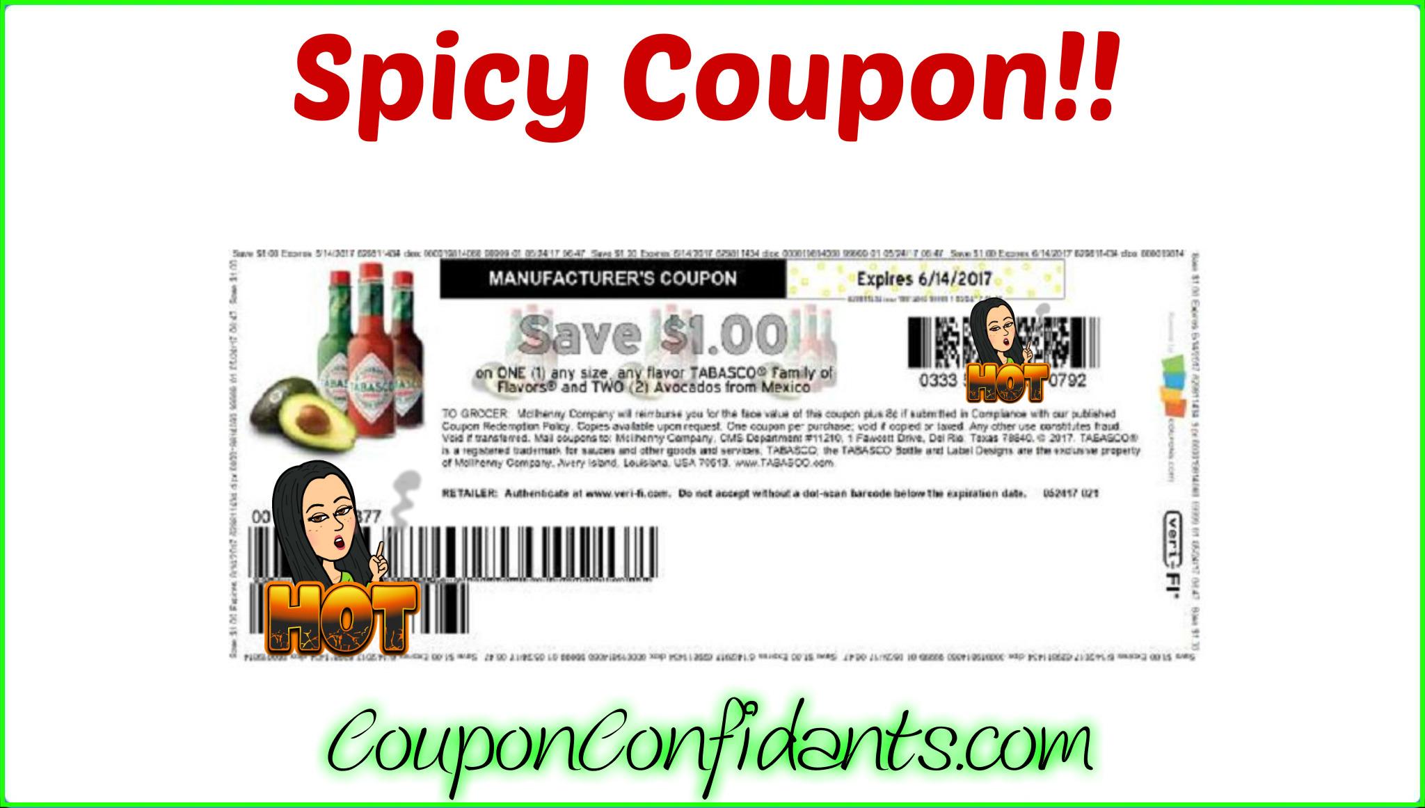 HOT Tabasco & Avocado Coupon!! Print NOW!