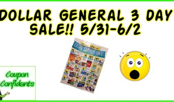 Dollar General 3 day sale AD 5/31-6/2!