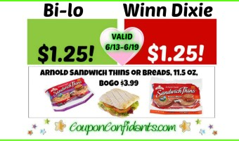 Arnold Sandwich Thins – Winn Dixie and Bilo!