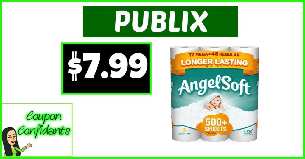 Angel Soft Bath Tissue 9 mega only $7.99 at Publix!