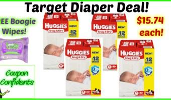 Target Huggies Deal!! $15.74 each box!