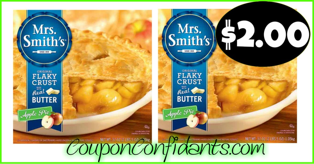 Mrs. Smith's Pies now $2.00 at Bi-lo and Winn Dixie!