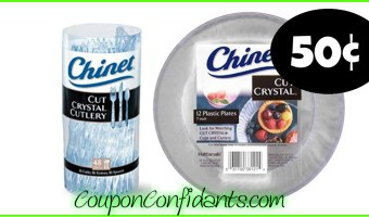 Chinet Cut Crystal Plates or Cutlery only 50¢ at Publix!