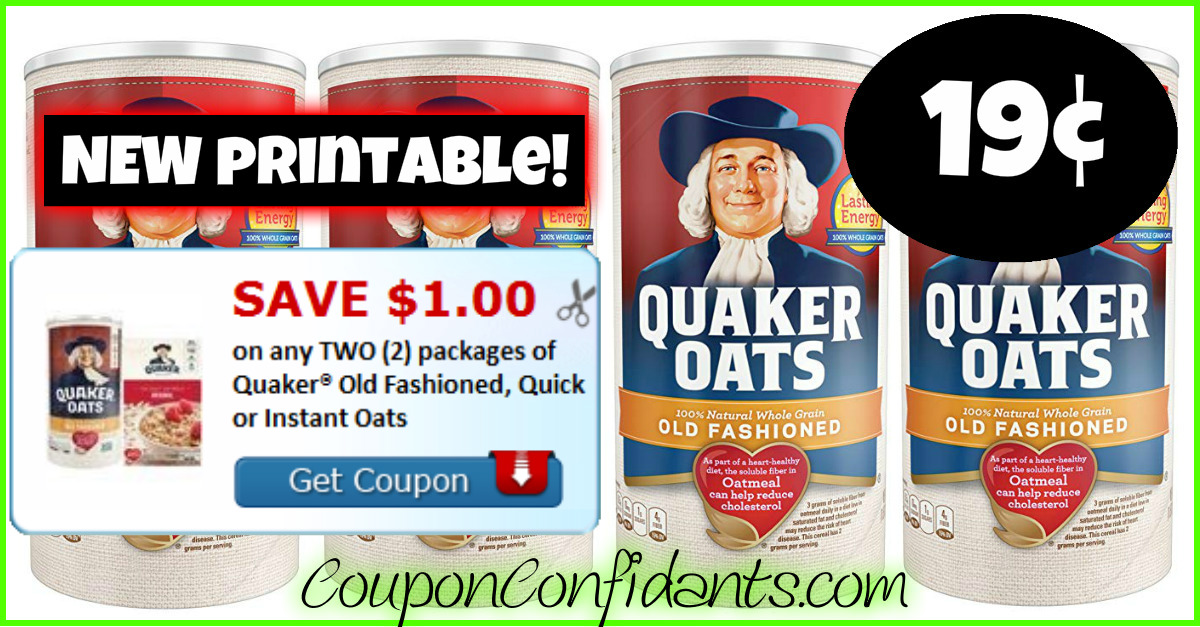 image relating to Quaker Printable Coupons referred to as 19¢ Quaker Oats at Publix! Of course! ⋆ Coupon Confidants