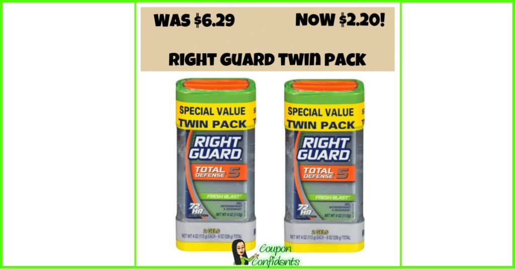 WOW! Right Guard Twin Pack $2.20 at Target!