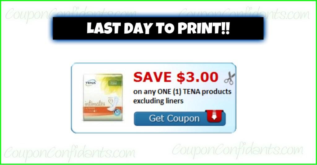 LAST Day to print!! RUN! $3 Tena Pads