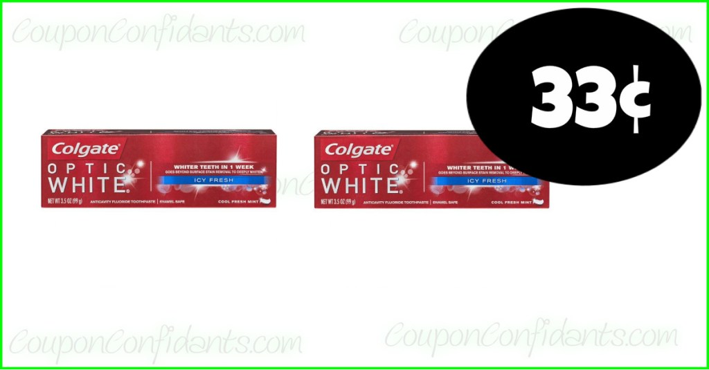 Colgate Optic White Toothpaste 33¢ at Publix!