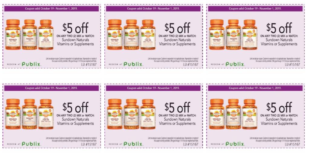 $5 off 2 Sundown Vitamins Publix PDF Coupon!