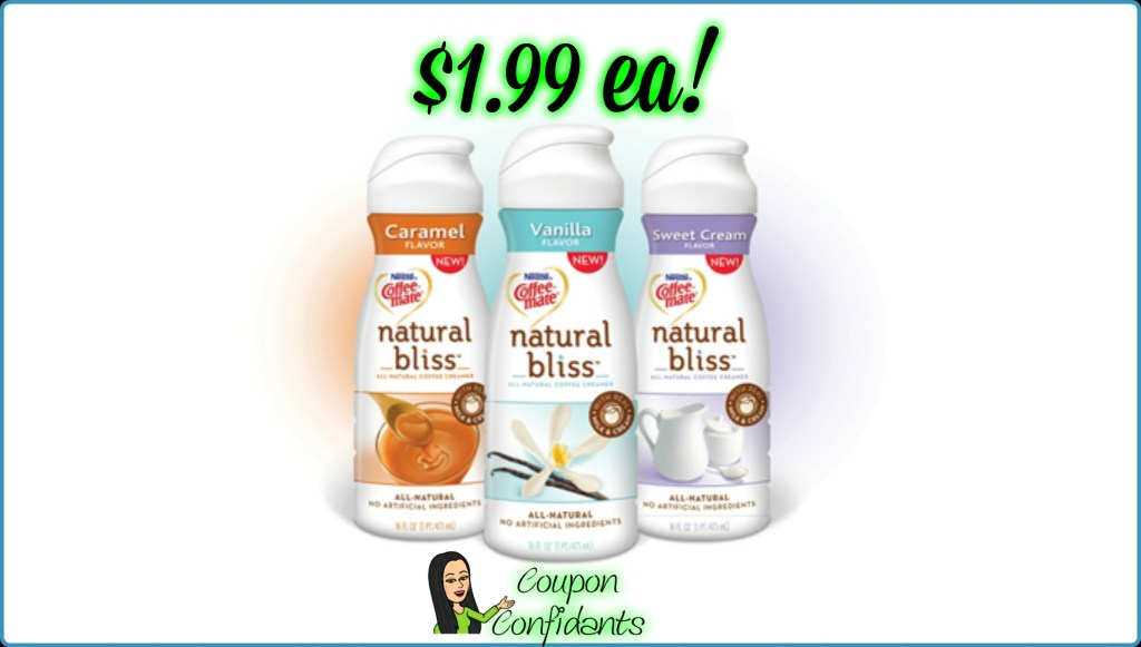 Coffee Mate Natural Bliss $1.99 each at Publix!