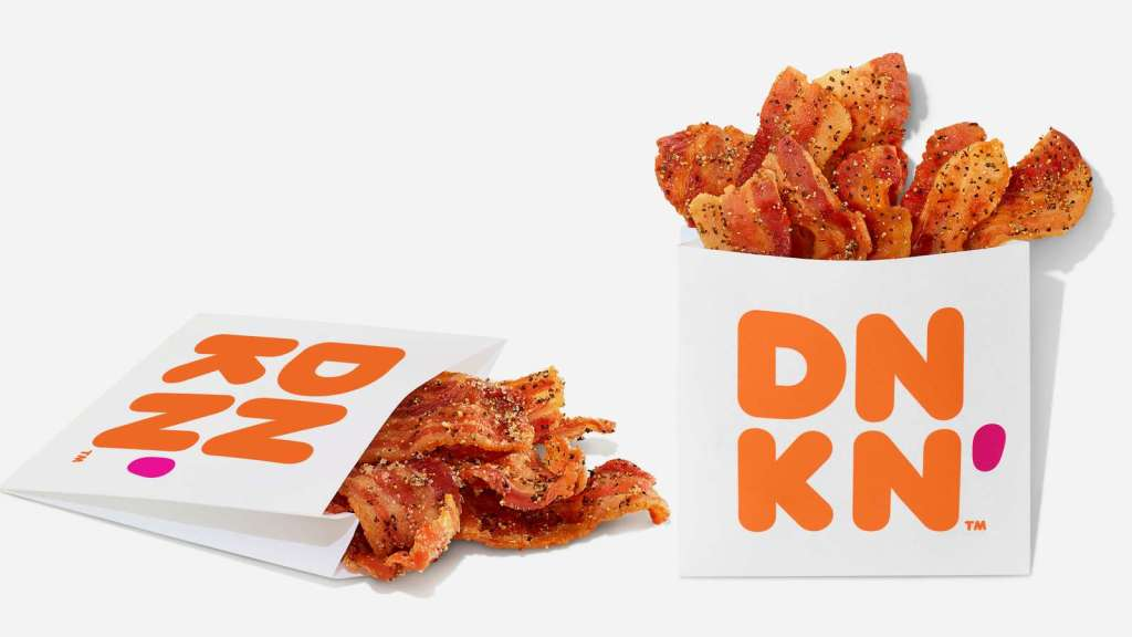 Dunkin' Donuts started selling bags of bacon! YUM!