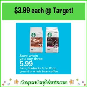 Starbucks Coffee $3.99 each at Target! WOW!