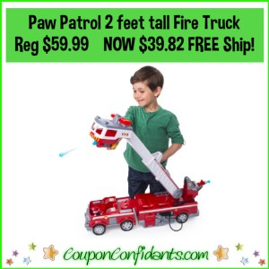 Paw Patrol 2 foot tall Fire Truck Reg Price $59.99 NOW $39.82 – FREE Shipping!!