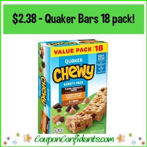 Super LOW Price on Quaker Bars Value Pack! $2.38 for 18 bars!