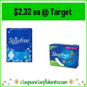 Stayfree Pads asst varieties $2.32 each at Target!